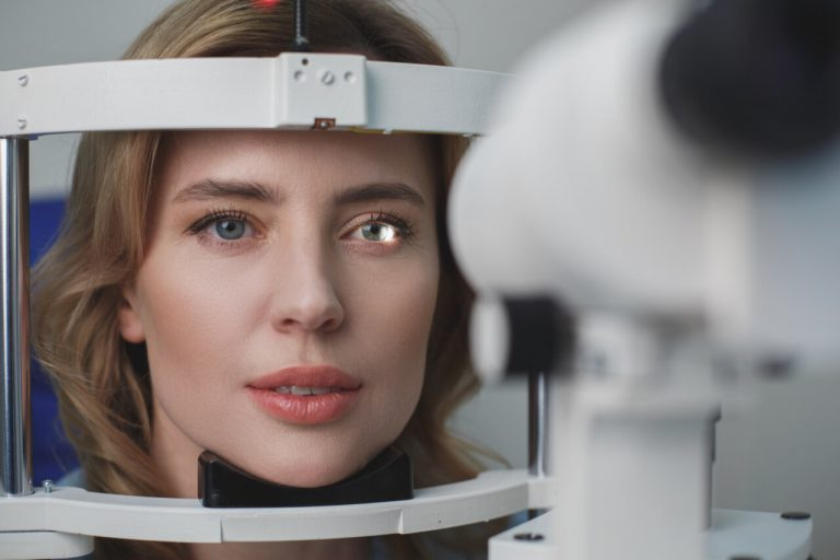 What is the eye doctor equipment used for eye exams?